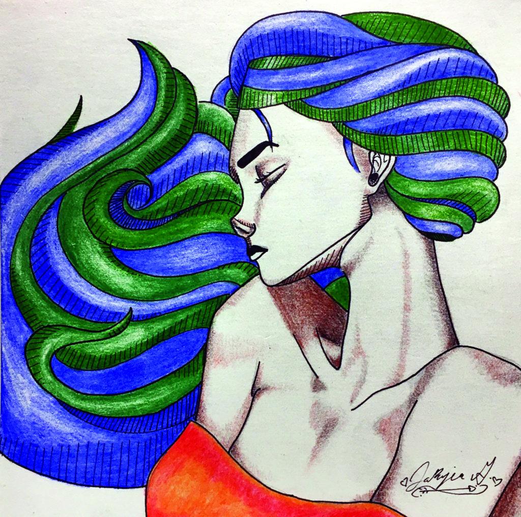 Portrait 1 (blue/green hair)