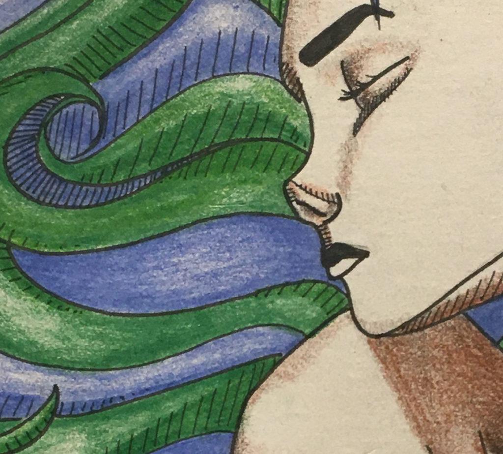 Portrait 1 (blue/green hair) detail